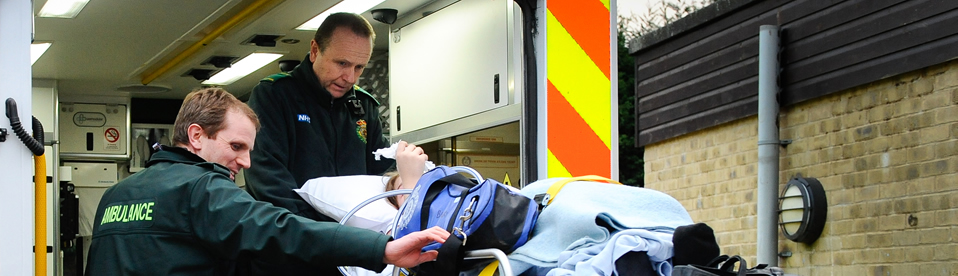 Crew with patient on an ambulance