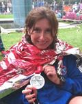 Rachel Acamon-Carbonelli after completing the London Marathon.