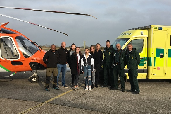 Magpas Air Ambulance Doctor Rupert Hurry and Critical Care Paramedic Dan Read with Alice's sisters, former patient Alice Lunn, Alice's parents and EEAST Ambulance Service Paramedics, Adam Bright, Napoleon Georgoulias and Charlie Harris
