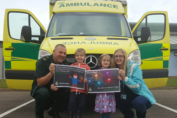 Pictured are Lizi Ingle from Families Norwich North Norfolk, Student Associate Ambulance Practitioner Adrian Appleby, and Lizi's children Josiah and Thea