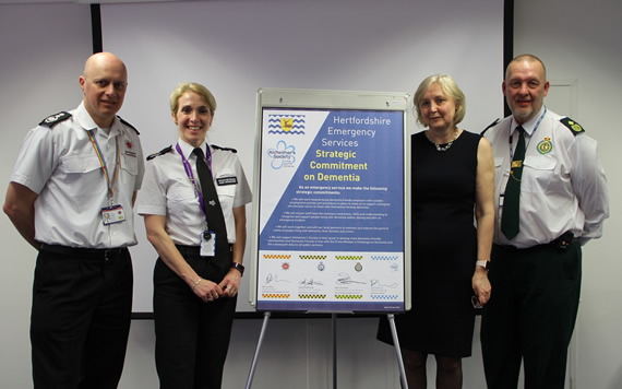Fire Police and Ambulance sign Alzheimers Society dementia pledge April 2018