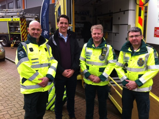 Thomas Semmons with ambulance staff at the Norfolk road safety event