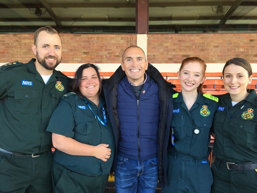 Luke Chapman meets his lifesavers.