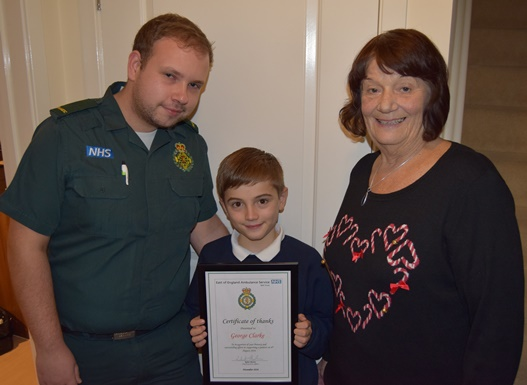Paramedic Luke Jones with George Clarke and Sandra Newton.