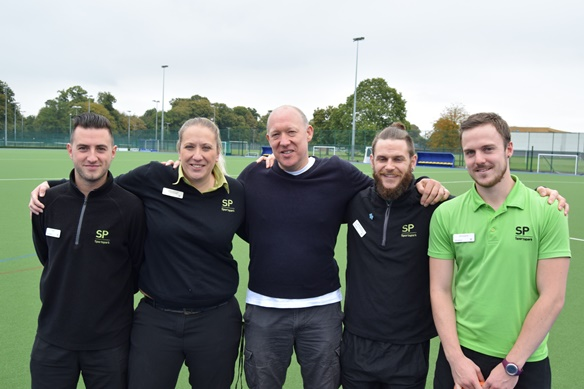 Roger Baines (centre) with some of his lifesavers from UEA Sportspark.