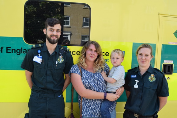 Shauna and Fox Tate with student paramedic Michael Bucher and paramedic Amy Hammerton