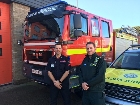 Watch Manager Thaine Hacon and EEAST Duty Locality Officer Mark Little at Great Yarmouth fire station